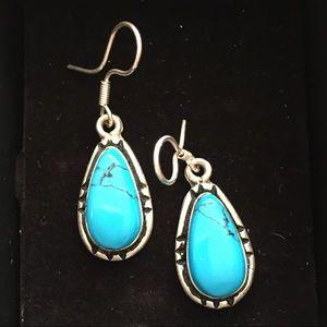 Taxco turquoise & silver drop earrings